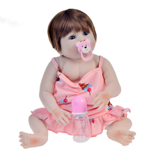 """22""""55cm Reborn Alive Girl Doll FULL Silicone Realistic vinyl newborn Princess Baby Doll Toy modeling Christmas Gifts Shower"""