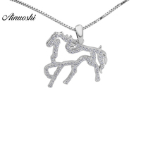 AINOUSHI Lady Fashion 925 Sterling Silver Cute Animal Horse Jewelry Pendants For Women Girls Trendy Solid Silver Presents