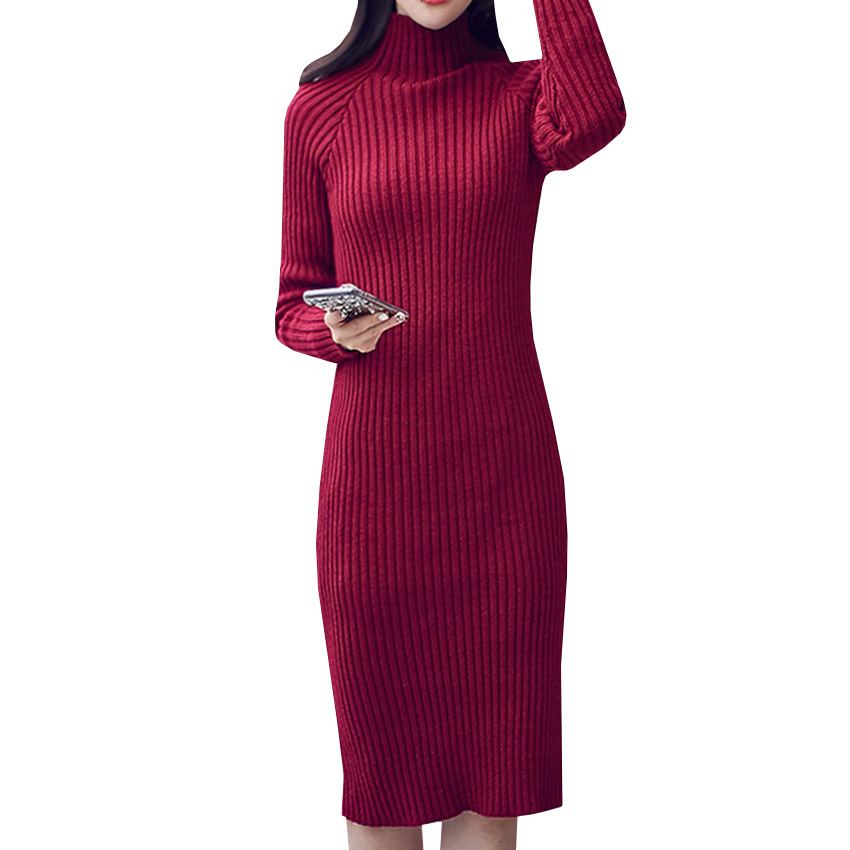 Sweater Dress New Autumn Winter Women Warm Thick Turtleneck Sexy Knitted Dress Long Sleeve Casual Bodycon Dresses Vestidos AB410 women turtleneck front pocket sweater dress