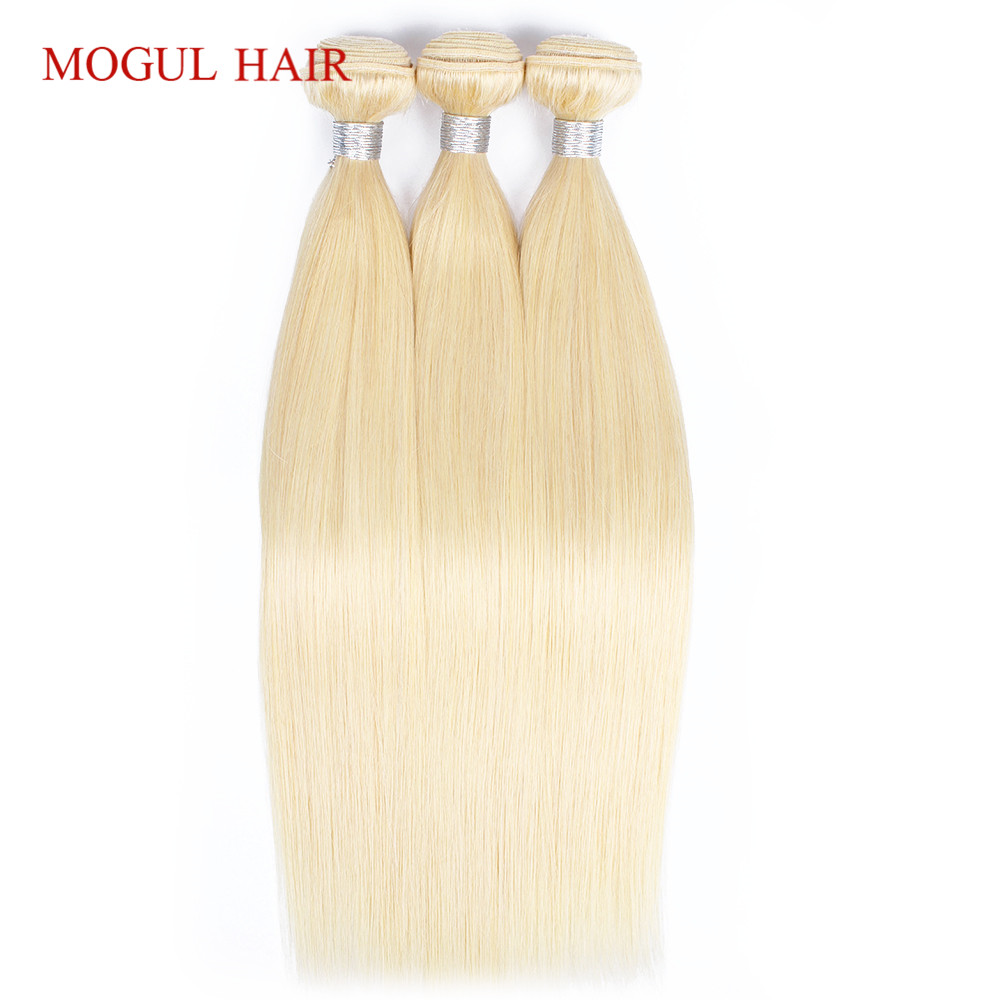 MOGUL HAIR Brazilian Straight Hair Weave Bundles Color 613 Blonde Bundles 2 3 PCS 10 28