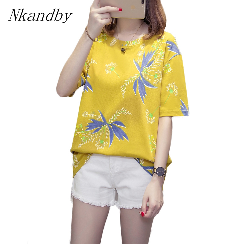 Nkandby Plus Size Leaf Print Women Tops Tshirt Summer Short Sleeve Casual Loose 4XL Tee Shirts Oversize Cotton Vacation T-shirts