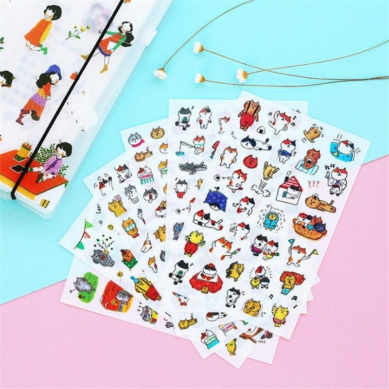 6 sheets Cartoon Cat PVC Stickers Kawaii Stationery DIY Scrapbooking Stickers