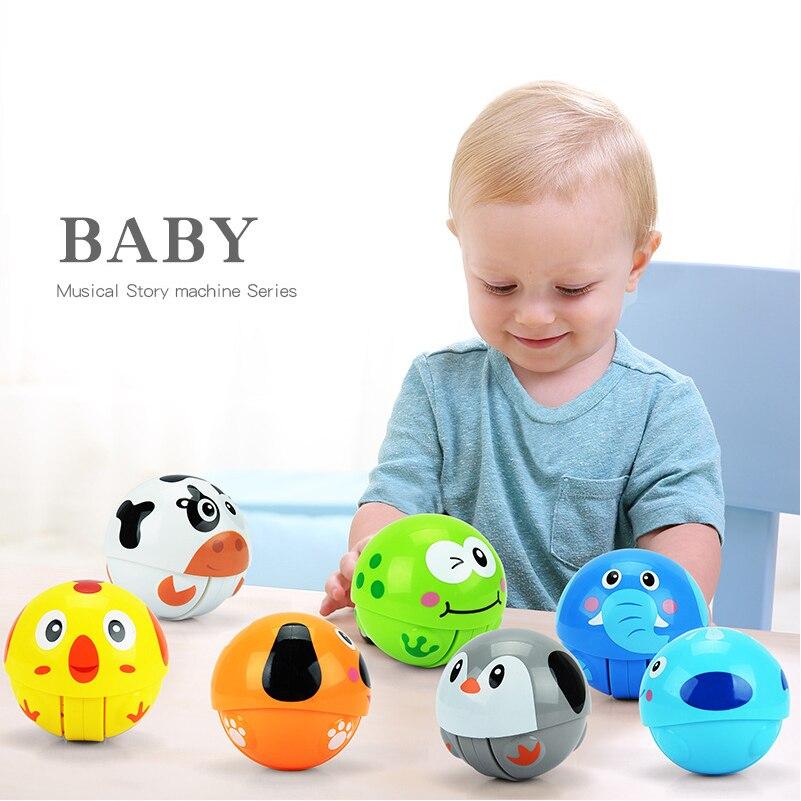 7 cm Mini Tier Laufen Kugel Tumbler Spielzeug für Baby Rassel mit Sound Pädagogisches Lustiges Run Wäschetrockner Spielzeug für Kind geschenk