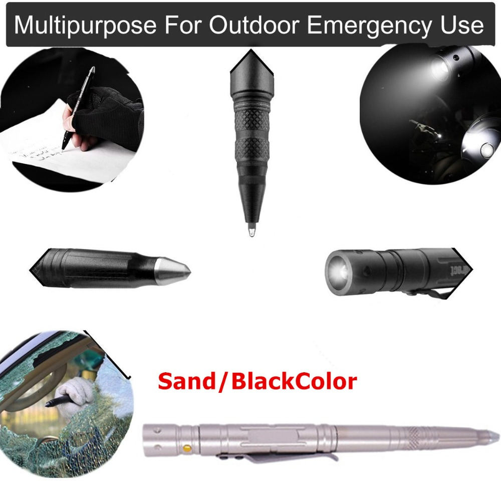LESHP Multifunction Tactical Pen With Knife LED Light Aluminum Alloy Body Self Defense Guard Glass Broken Pen Outdoor Emergency oumily stainless steel outdoor self defense tactical pen w led light silver