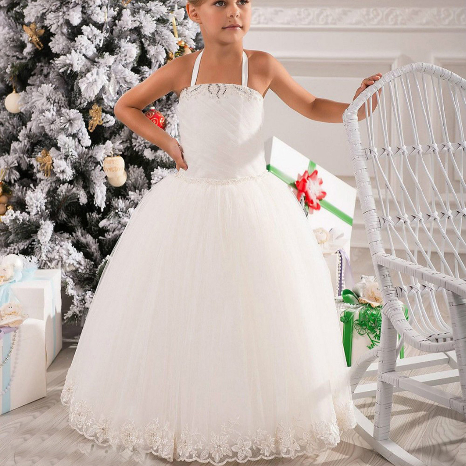 Where to buy christmas dresses - New Arrival Simple Vintage Halter Beaded Net Sash Girls Birthday Party Christmas Princess Pageant Organza Tutu