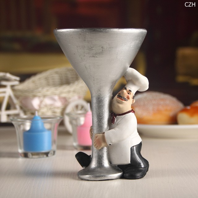Cute Chef Statue Ornamental  Candle Holder