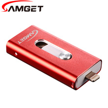 Samget 3 in1 Mini USB 2.0 Metal Pen Drive OTG USB Flash Drive For iPhone 5/6/Plus/7/ipad i-Easy drive 8GB 16GB 32GB 64GB 128GB(China)
