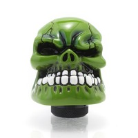 New Universal Manual Transmission Car Gear Stick Shifter Knob Lever Cover Resin Skull Green Head Free
