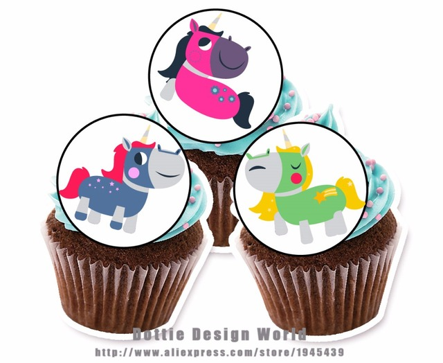 24 Unicorn Edible Cake Topper Wafer Rice Paper For Cookie Cupcake Decoration Birthday Baby Shower Decor Supply