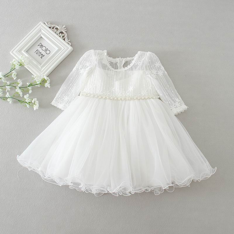 2017 New Newborn Baby Girl Christening Gown Infant Girls Princess Lace Long Sleeve Baptism Dress Toddler