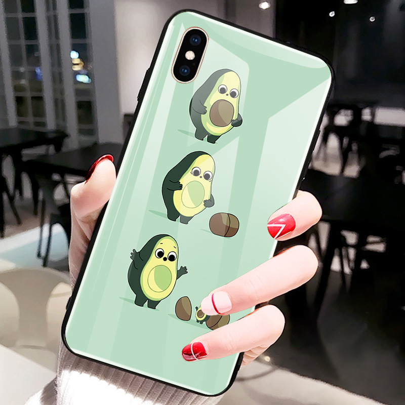 For iPhone XS Max XR X 8 7 6 6s Plus Green Cute Avocado Fruit Tempered Glass Protective Phone Back Cover Shell in Phone Bumpers from Cellphones Telecommunications