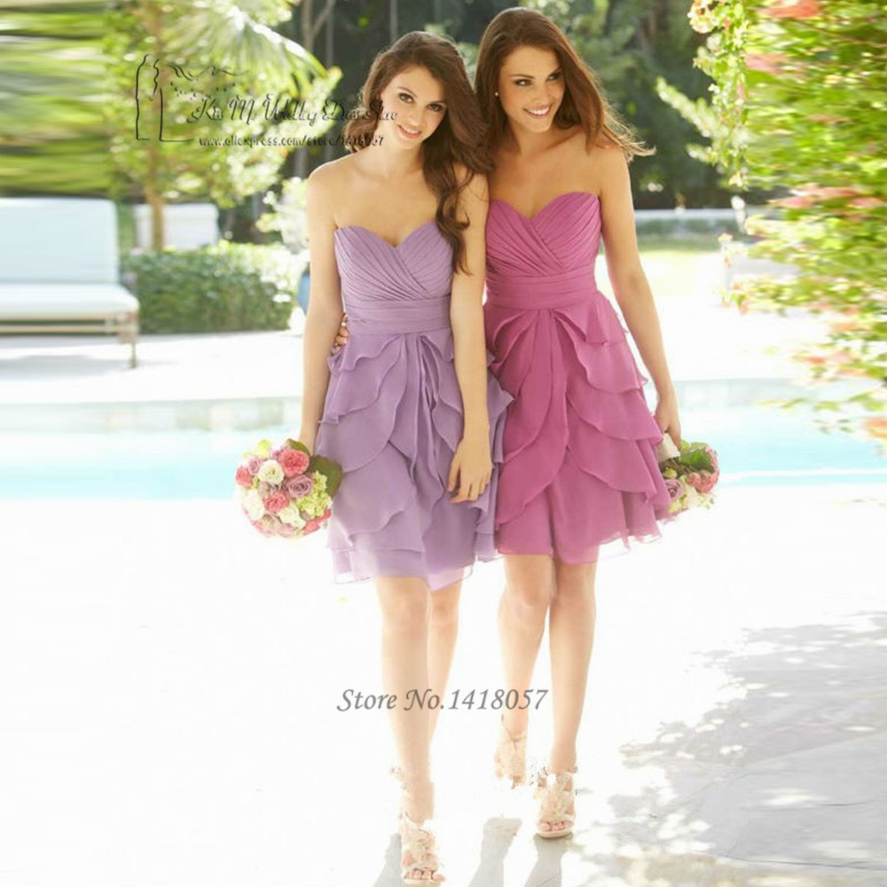 Bruidsmeisjes Jurk Sexy Cheap   Bridesmaid     Dresses   Short Purple Lavender Wedding Party   Dress   Knee Length 2017 Madrinha Tassel