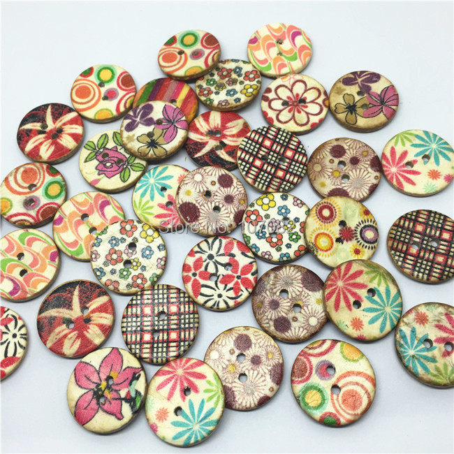 20//100pcs Colorful Flower Coconut Round Buttons 15MM Craft//Kids Sewing Scrapbook