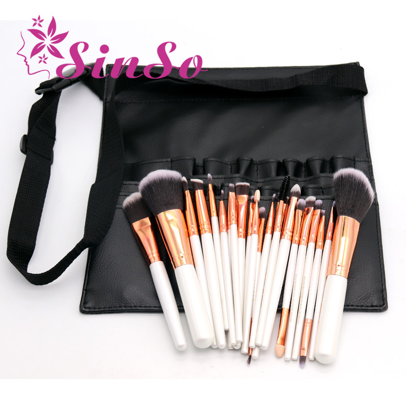 bd50422c445d SinSo Women Professional Makeup Brush Bag 22 Pockets PU Leather Cosmetic  Brush Bag Apron with Artist ...