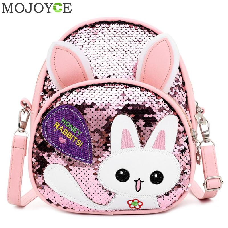 2019 New Fashion High Quality Children Girls Babbit Bag Leather + Sequins School Bookbag Travel Backpack Rucksack Zipper
