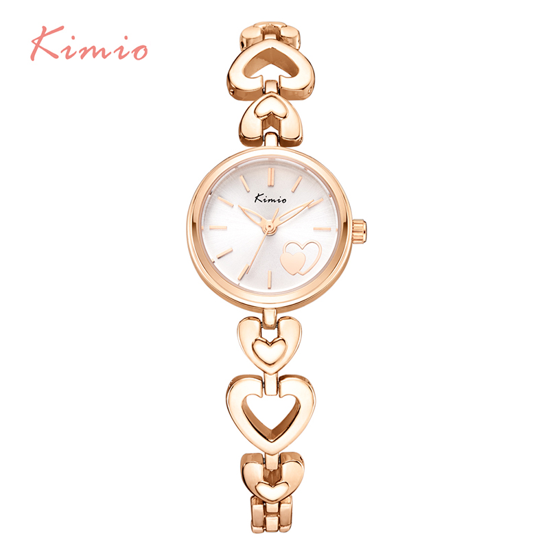 KIMIO Brand Women's Watches Shell Surface Love Heart Bracelet Watch Stainless Steel Quartz Wristwatch Ladies Dress Watch Clock love heart hollow out bracelet watch