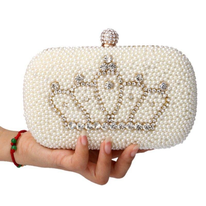 ФОТО 2017Women beaded wedding bags diamond pearl clutch evening bags shoulder crown crystal handmade leather bag55