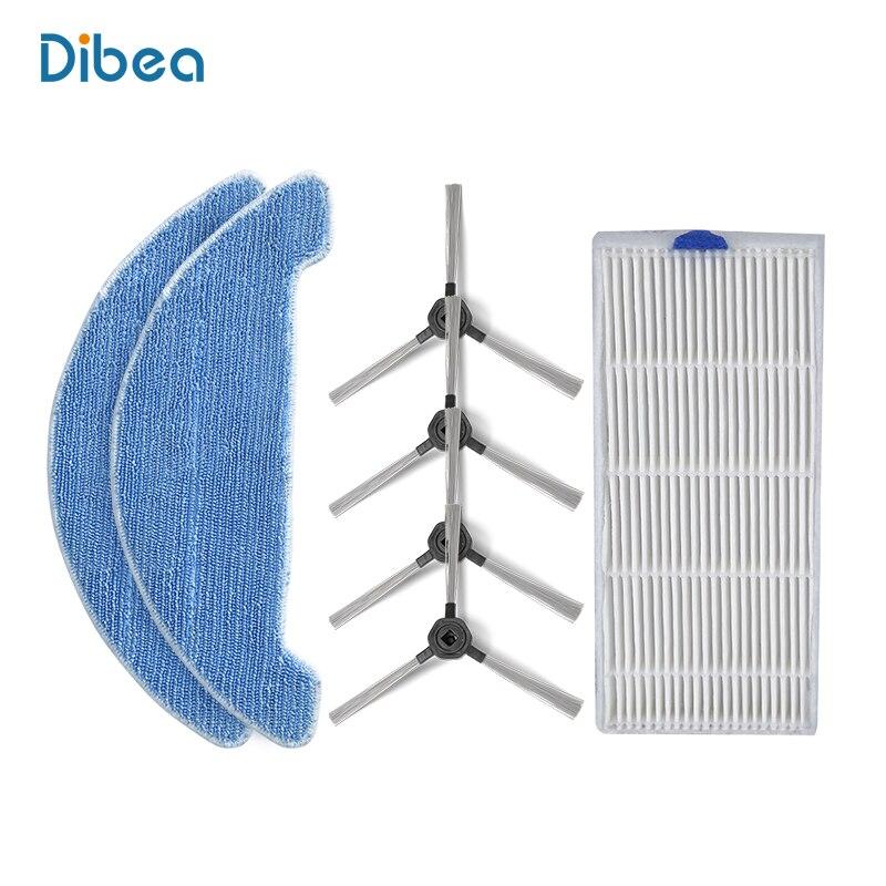 Ersatzteile Ersatz einschließlich Mopp, Seitenbürste, Hepa für Dibea D960 Saugstark Automatische selbstlade Bodenreiniger
