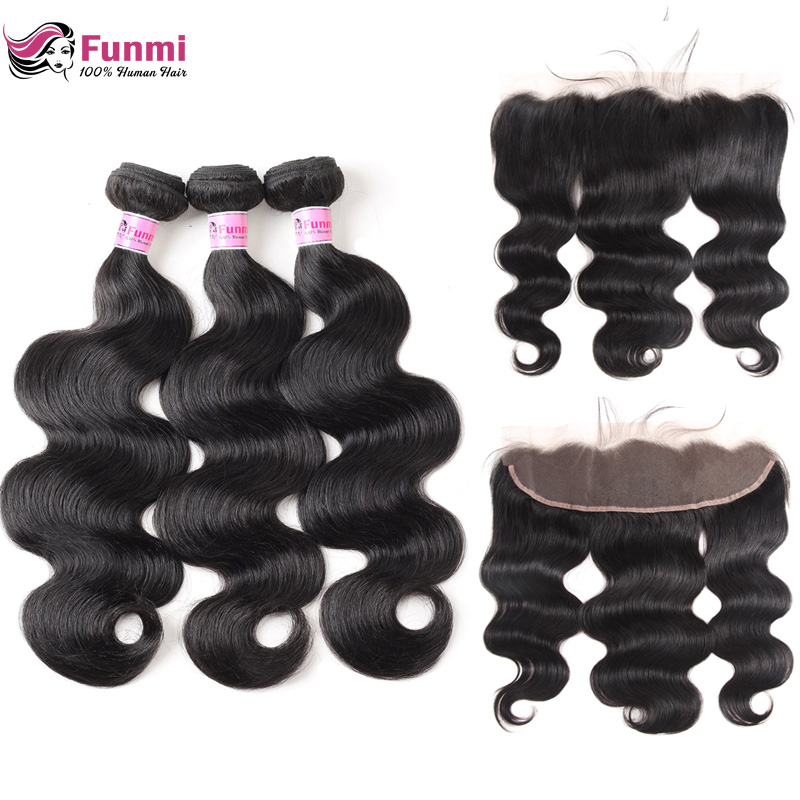 Funmi Indian Body Wave Bundles With Frontal 100 Unprocessed Virgin Human Hair 13X4 Inch Lace Frontal