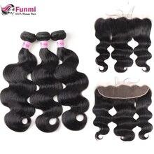 Фунми перуанские волосы, волнистые пряди с фронтальной необработанных Виргинские человеческих волос 13X4 дюйма с закрытием пряди 3 предмета в комплекте
