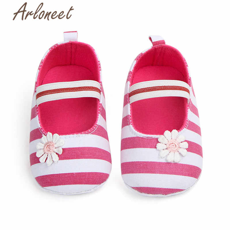 ARLONEET 2019 baby Girls baby cotton fabric Canvas Anti-slip Shoes Flower Striped Sneaker Soft Cute Toddle baby Cloth Crib Shoes