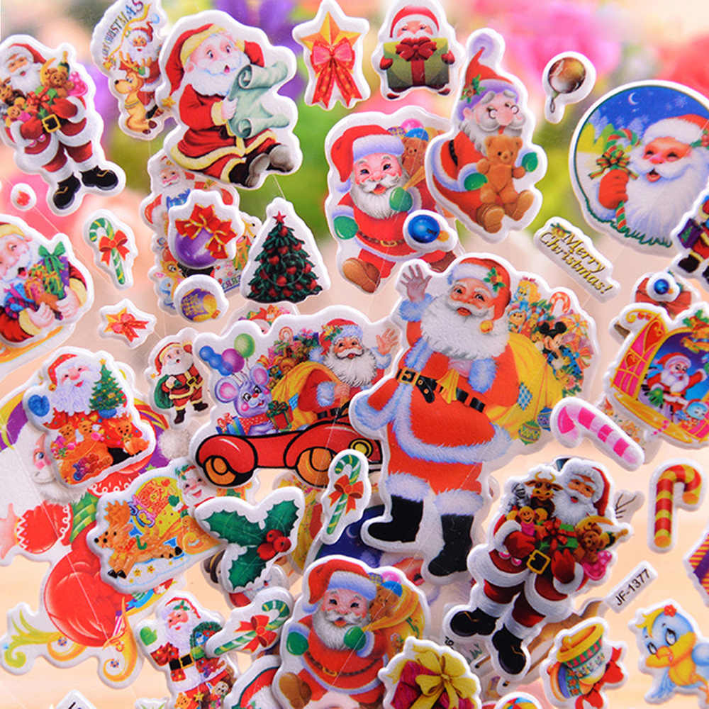 Christmas Gifts 1/ 5/10pcs 3D Carton Bubble Sticker Santa Claus Puffy Stickers Happy New Year Xmas Decor For Kids DIY Reward