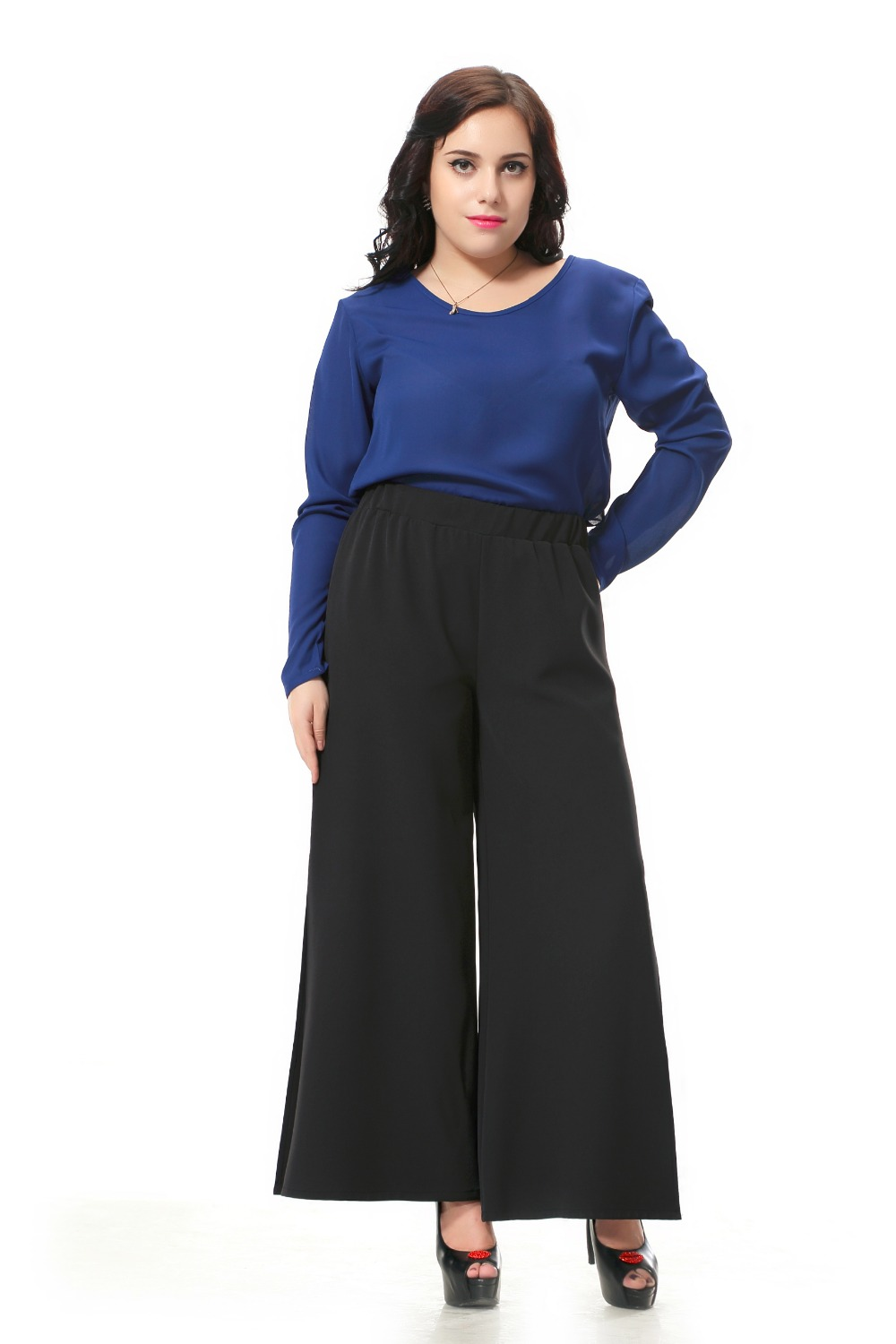51e6bcccf4009 Aliexpress.com   Buy Plus size black pants women Wide leg pants .