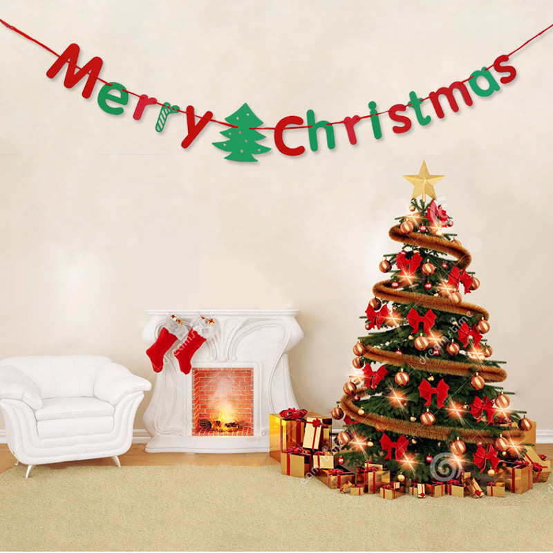 1set Merry Christmas Letter Paper Garlands Creative Curtain Bunting Home Party Banner Hanging Decoration In Banners