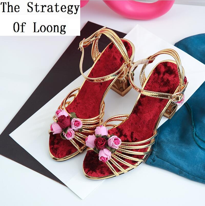 ФОТО Women Flowers Basket Heels Open The Toe Sandals Lady Cut Out Heels Peep Toe Fashion Summer Shoes Plus Size 41 42 Big Size Shoes