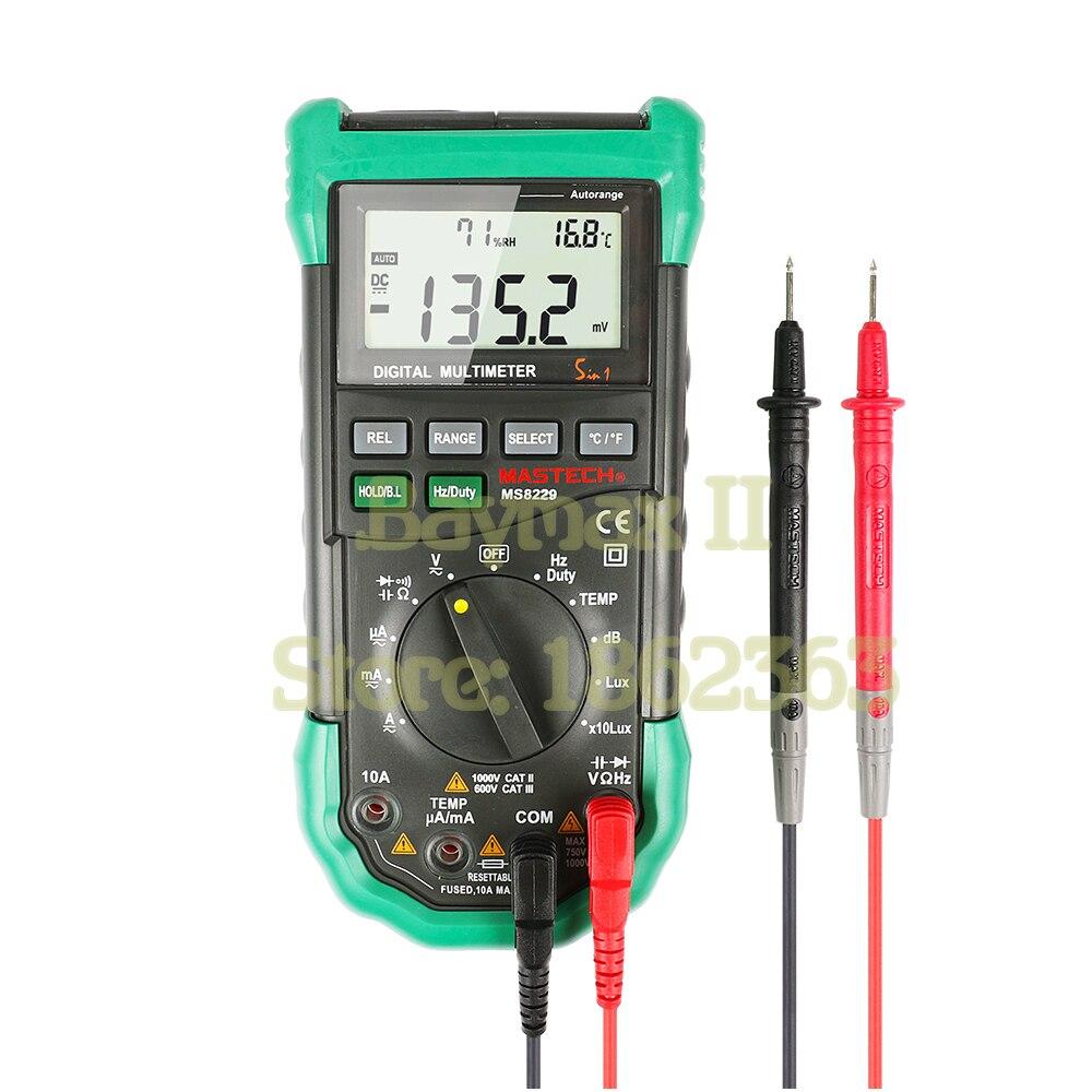 Mastech MS8229 Auto-Gamme 5-en-1 Multi-fonctionnelle Numérique Multimètre avec DMM, Lux, Humidité, Niveau Sonore, Thermomètre