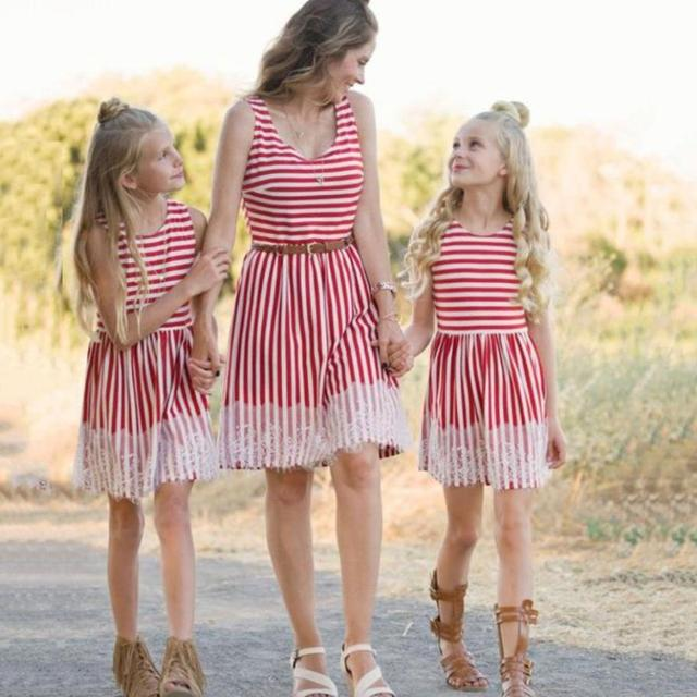 a1e2a0856992 Family Matching Outfits Mother Daughter Dress Women Striped Print Lace  Sundress Vest Slim Dress Family Clothes 18Jul2