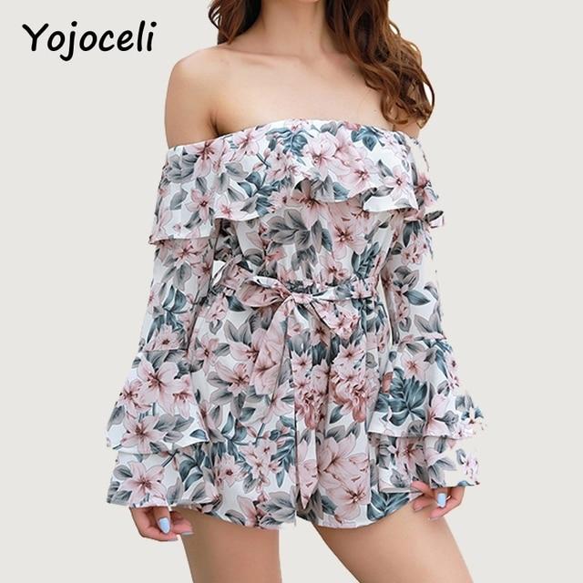Yojoceli 2018 summer off shoulder floral print jumpsuit romper women flare sleeve bow beach playsuits