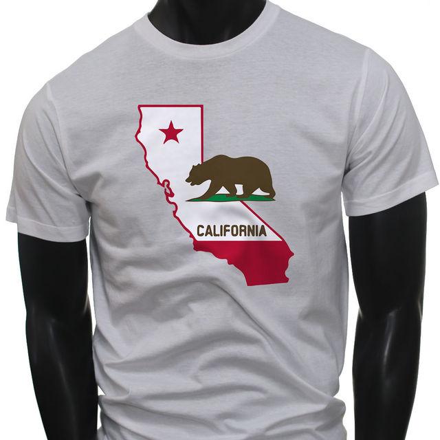 Original Bear Pride Home California State Map Flag Mens White T Shirt O Neck