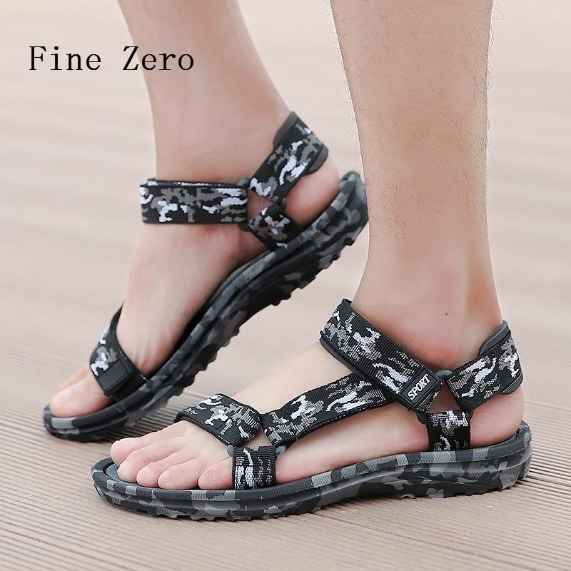 Comfortable Male Summer Shoes Designer Slippers Flat Sandalsd chinelo masculinoMen camouflage Outdoor massage Sport font b