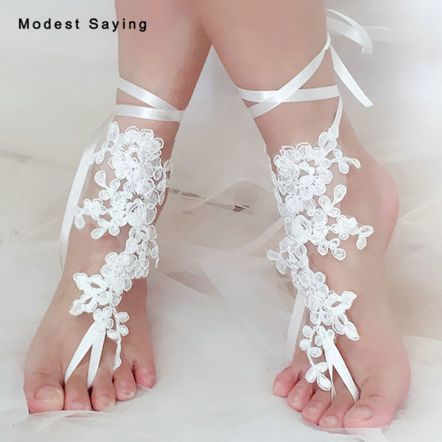 1 Pair Real Elegant Ivory Lace Wedding Barefoot Sandals Anklets Shoes With Toe Sandbeach Bridal Beach