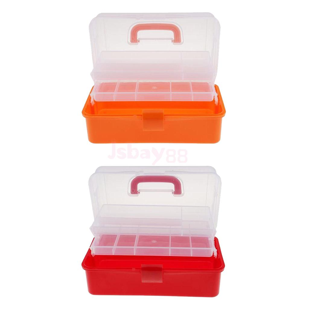 2pcs Plastic 3 Tiers Storage Organizer Compartment Home Tool Container Storage Box Case Nail Polish Jewelry Arts & Craft Holder multifunctional car storage box container beige