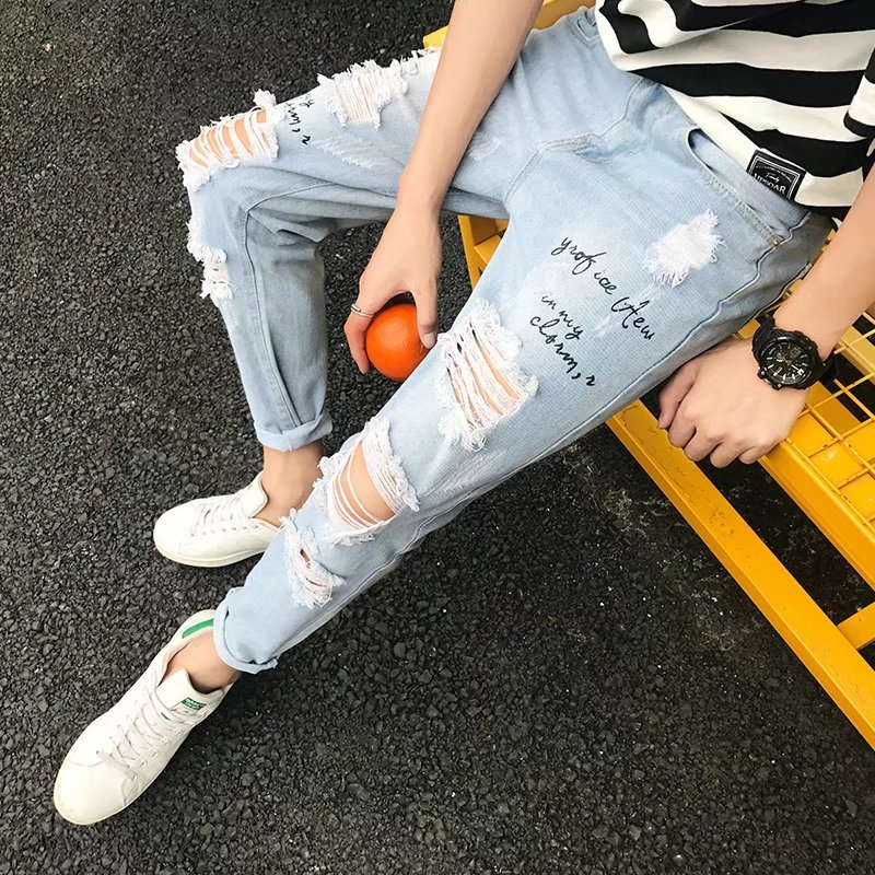 High quality 2018 spring summer Knee hole Printed Denim cowboys teenagers hip hop Distressed loop hole joker Ankle Length jeans