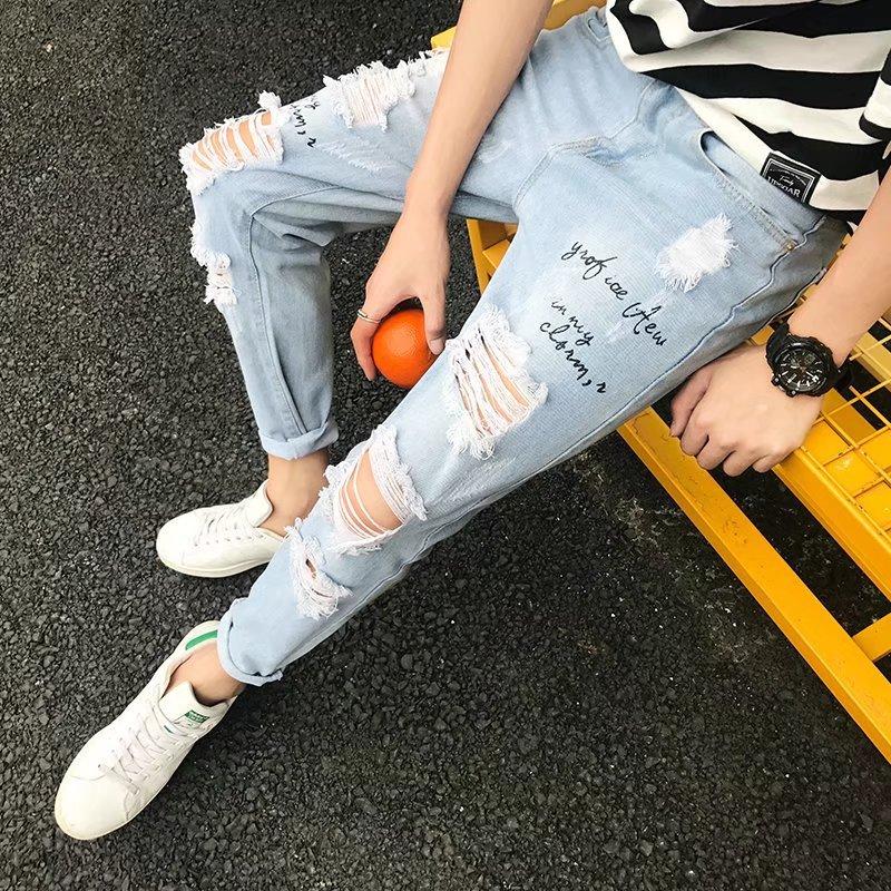 High Quality 2020 Spring Summer Knee Hole Printed Denim Cowboys Teenagers Hip Hop Distressed Loop Hole Joker Ankle Length Jeans