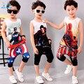 Дети 3-11 Летней Одежды Мальчиков Хлопка Капитан Америка Одежда Устанавливает Мальчики 3d футболка + Брюки Детские мальчик Одежда Спортивные Костюмы 2016