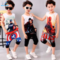 Niños 3-11 Ropa de Verano de Algodón de Los Muchachos Traje de Capitán América Establece Chicos 3d t-shirt + Pants Del Bebé Ropa de niño Trajes Del Deporte 2016