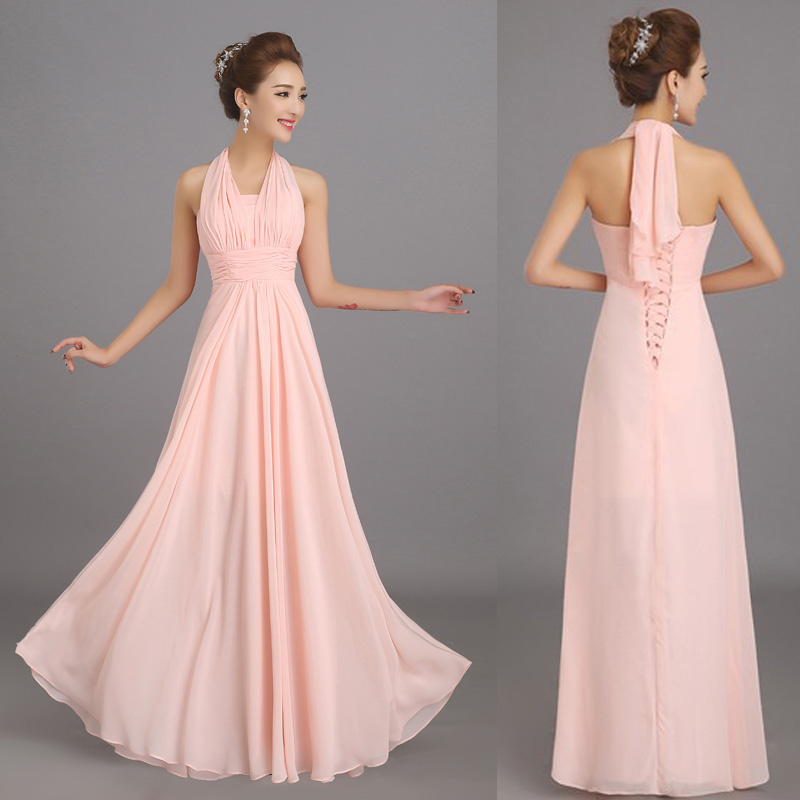 Buy new halter soft pink long chiffon for Plus size wedding party dresses