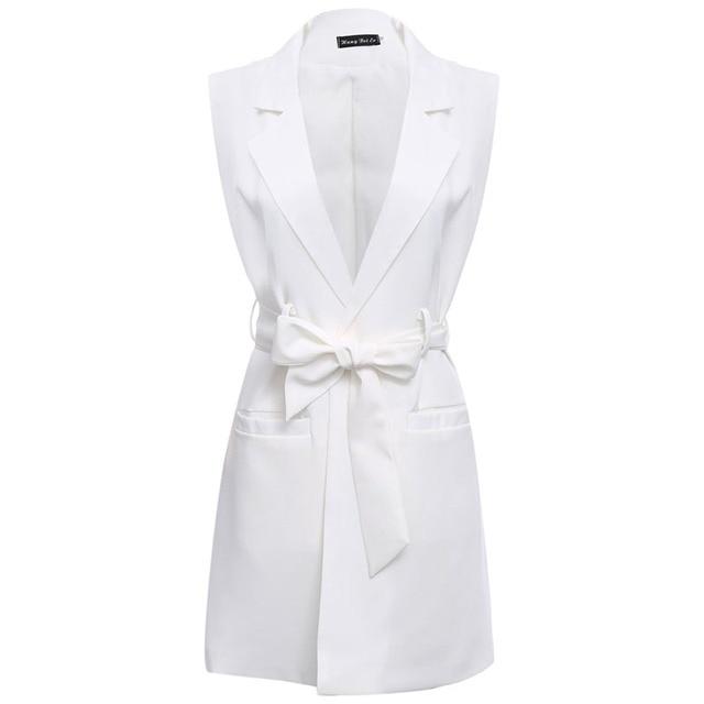 AZULINA Белый длинный блейзер жилет пальто с поясом дамы Случайные верхней одежды жилет Женщин Весна рукавов пиджак жилет женский