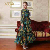 VOA шелк праздничное платье принцессы взлетно посадочной полосы Очаровательное платье с цветочным принтом Boho осень жоржет с длинными рукава