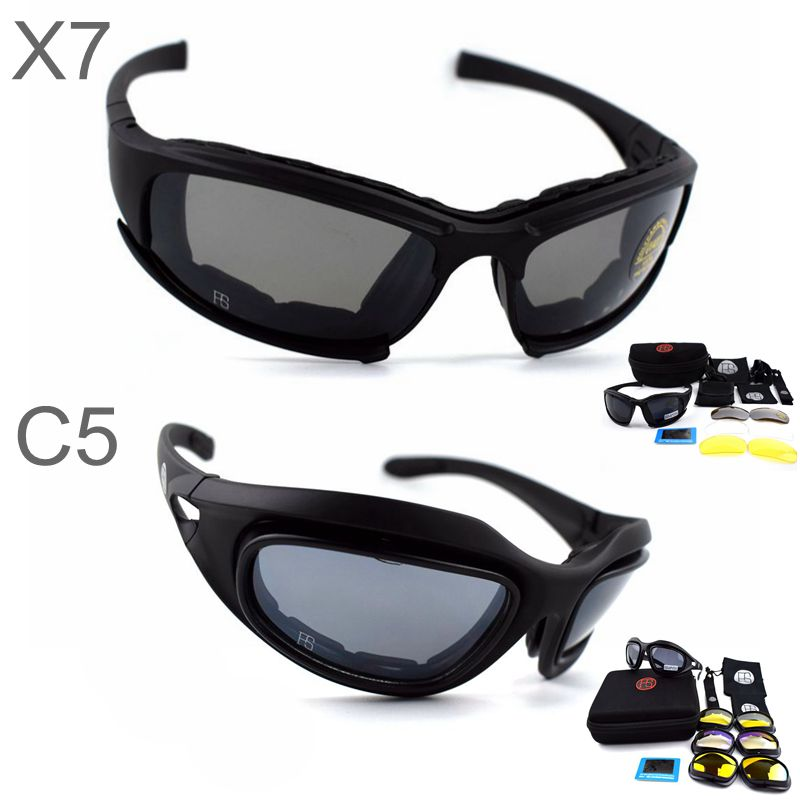 X7 C5 Military Goggles Bullet-proof Army Polarized Sunglasses 4 Lens Cycling Shooting Airsoft Eyewear Motorcycle Glasses