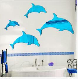 원피스 DIY 뜨거운 판매 3D 돌고래 거울 스티커 아크릴 크리스탈 벽 스티커 목욕 거실 벽 스티커 홈 장식