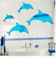one piece DIY Hot sell 3D Dolphins mirror stickers Acrylic Crystal wall stickers for bath living room wall stickers home decor