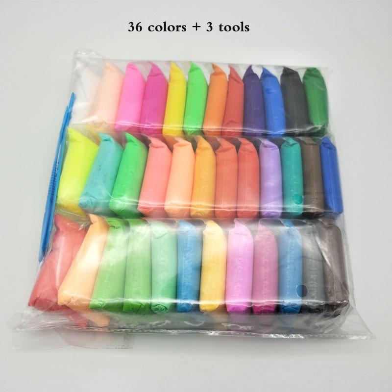 36 Color/set Super luz arcilla de secado al aire de luz plastilina arcilla DIY suave creativa Handgum educativos de arcilla juguetes
