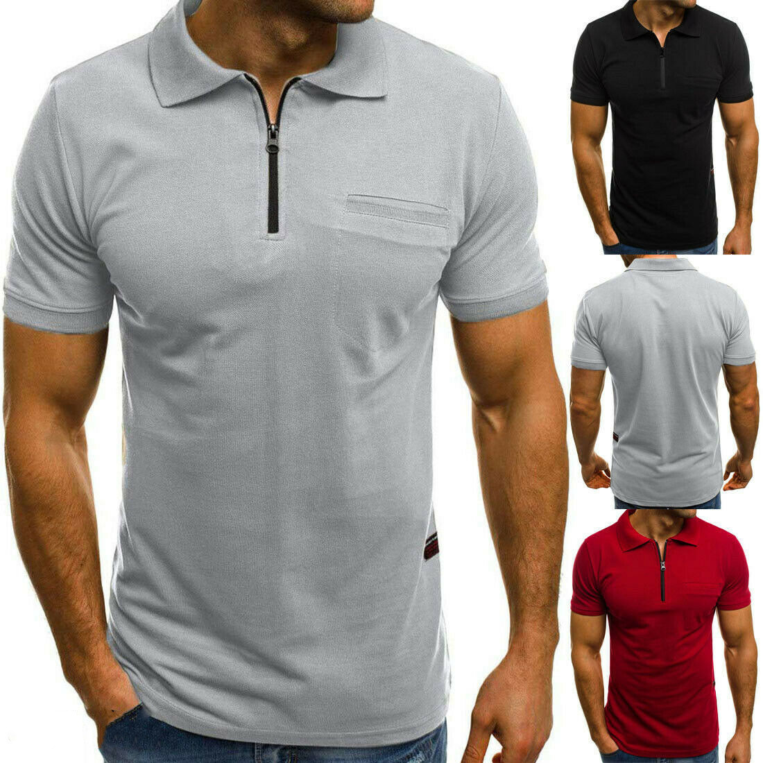 2019 New Men Slim   Polo   Shirts Short Sleeve Casual Golf PoloShirt Jersey Solid Black Red arrival Top Tees High Quality Plus Size