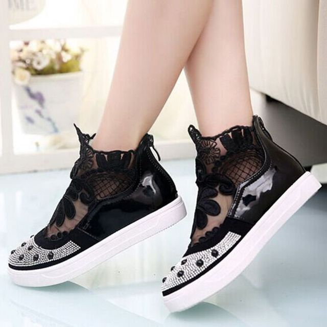 2015 Spring Children Casual Flower Shoes Lace Beading Tenis Girls Flat Shoes Beautiful Kids School Shoes TX63