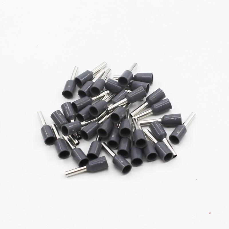 100 шт./упак. E0508 E7508 E1008 E1508 E2508 изолированных кабельных наконечников клеммной колодки конец шнура Разъем провода электрические обжимной Терминатор - Цвет: Серый